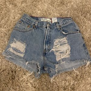 Levi's high waisted destroyed denim shorts